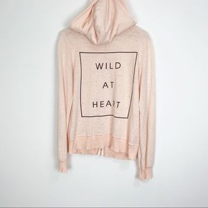 WILDFOX Pink Wild At Heart Hoodie Size Large